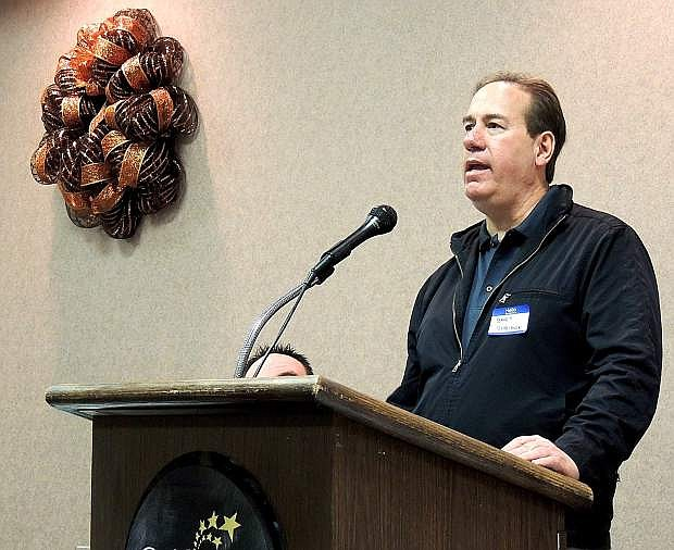 Bret Sheldon, president of CINC Industries, Inc., speaks at a Gold Dust West breakfast meeting of the private sector development organization called Nevada Business Connections.