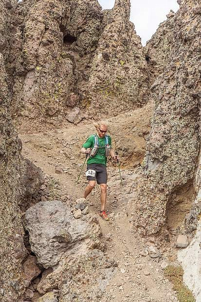 Ryan Dempsey of San Francisco races through the Palisades at Sugar Bowl Resort during the inaugural Castle Peak 100K this past weekend.