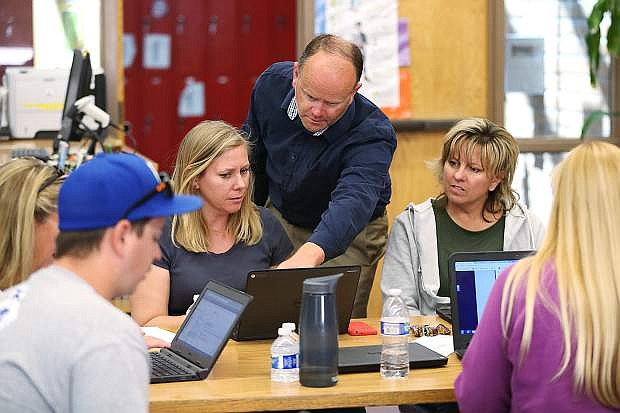 Technology Integration Trainer Robert Maw teaches Carson and Eagle Valley middle school teachers about new Chromebooks during a recent training session at EVMS. The Carson City School District received about $1.9 million from the Nevada Ready 21 Technology Grant Program, which will put new devices in the hands of nearly 2,000 middle school students in the fall.
