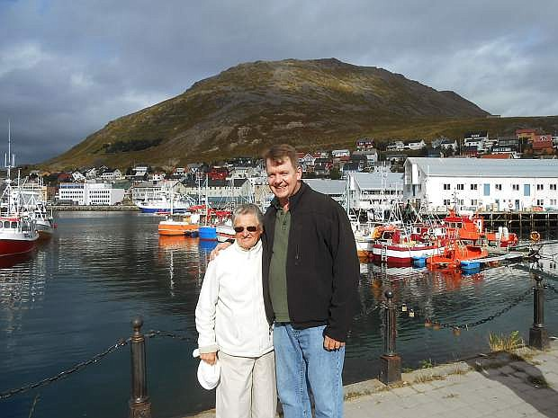 Marilyn Foster is pictured with Collette Vacations sales representative Jay Fehan at one of the colorful fishing villages in Norway