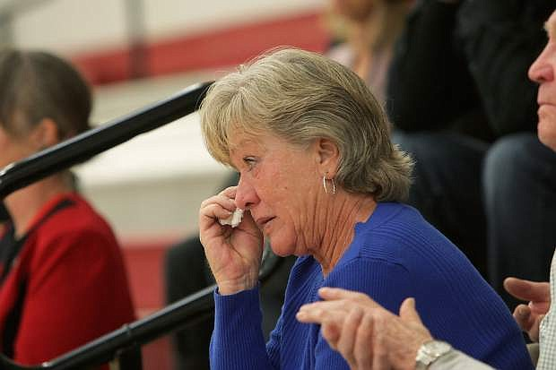 Eyes were dabbed and sniffles could be heard as stories of Truckee's Brian Collins were told by family, friends and comrades inside Truckee High's gym before approximately 900 people.
