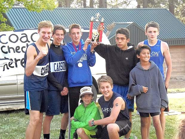 The Carson Middle School eighth-grade cross country team took second place at the TahNeva Championships.Parker Lehmann ran a 17:25 for the 2.63-mile course and was the fifth overall finisher. Juan Ayala, Will Breding, Dominic Martinez and Isaac Harrison also ran for CMS.