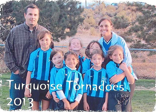 The Turquoise Tornadoes, 8 and under team, won the girls soccer league championship with a 10-0-2. Pictured from left, in back row: coach Chad Coons, Ava Coons, Dayna Myrehn, Brookelyn McGee and coach Nicole Abowd. Front row: Natalie Porter, Lindsay Lopez, Scarlett McGee and Mallory Abowd.