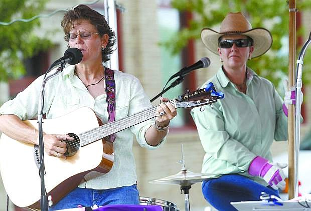 Krista Jenkins and Natalie Nielson of All Hat No Cattle perform at the Minden Street Fair on Esmeralda Avenue in 2011.