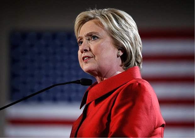 Democratic presidential candidate Hillary Clinton speaks during a Nevada Democratic caucus rally, Saturday, Feb. 20, 2016, in Las Vegas. (AP Photo/John Locher)