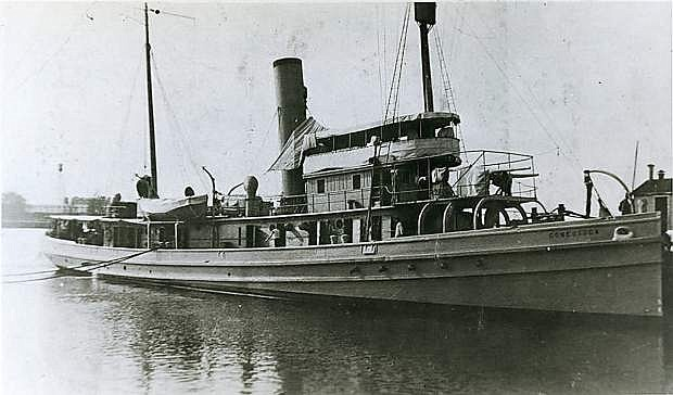 The 170-foot tugboat USS Conestoga is shown in San Diego in January, 1921, two months before it sank off the San Francisco coast.