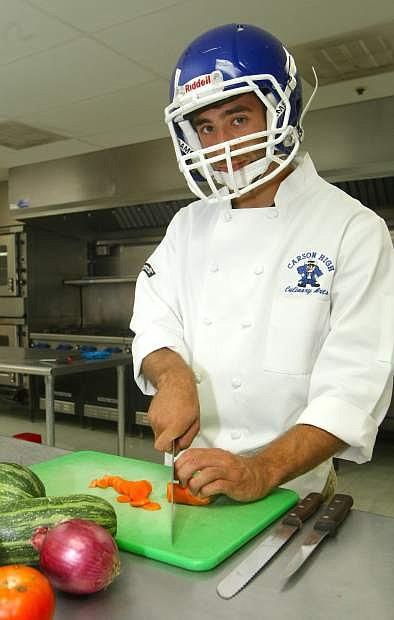 Carson High School varsity football player Max DeMar is involved in the school's culinary program.
