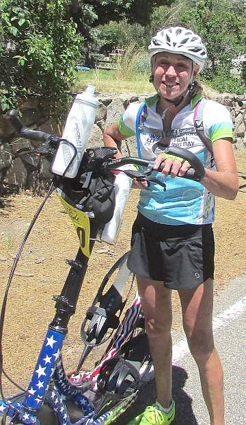 Mary Decker Slaney, 56, of Eugene, Ore., is ready to hit the road in Woodfords as she looks ahead to a climb up Carson Pass on Saturday at the Death Ride, Tour of the California Alps.