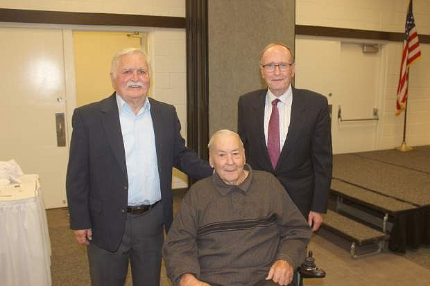 Former U.S. Sen. Richard Bryan meets with close friends  from when they al lattended the University of Nevada, Reno in the late 1950s. Bryan was in Fallon for the annual Churchill County Democratic dinner, now known as the Sayer-Bryan Dinber.From left are Roger Bremner, Don Travis and Bryan.