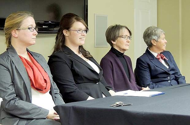 From left,  Amy Geddes, Sena Loyd, Mary Scott Wallace and Diane Duquette answer questions from the Carson City Library Board of Trustees. The four women were the finalists for library director. Loyd was selected after the interview process.