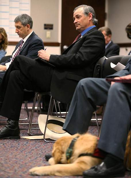 Nevada Sen. James Settelmeyer, R-Minden, presents a bill that would allow dogs in bars at the Legislative Building in Carson City, Nev., on Monday, Feb. 16, 2015. The measure faces opposition from the food service industry. (AP Photo/Cathleen Allison)