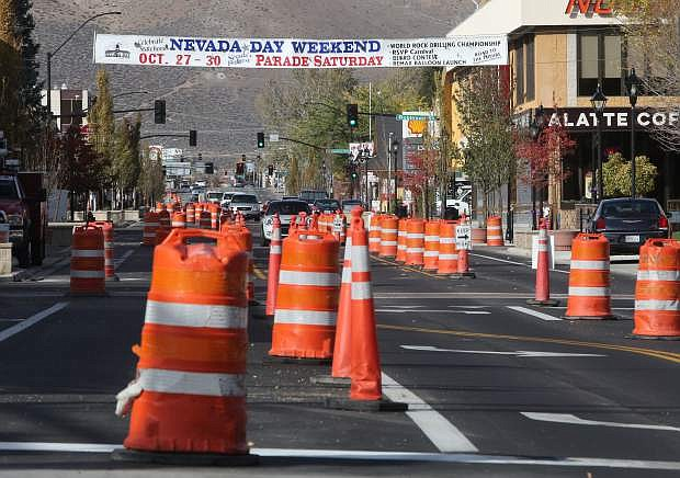 The downtown improvement project continues as Nevada Day approaches.