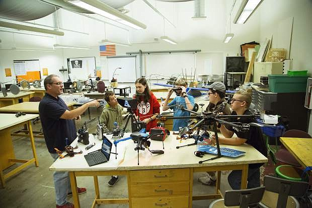 Kirk Ellern, co-founder of Above NV, a drone surveying and mapping start-up, teaches an aerial robotics class through Truckee Meadows Community College.