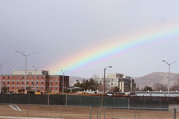 A rainbow is seen over the Nevada Department of Transportation about noon Wednesday.