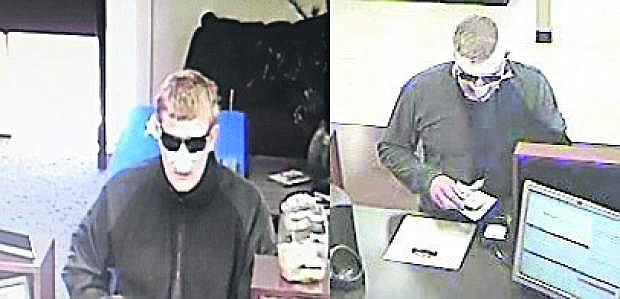 At left is a video capture of the man suspected in a June 29 raid on the Kingsbury Grade U.S. Bank. At right, is a capture of the robber in the July 1 El Dorado Hills heist.