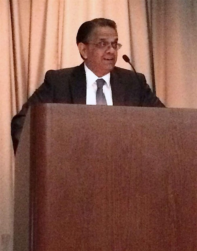 Dr. Mridul Gautam, vice president for Research and Innovation at the University of Nevada, Reno, welcomes participants at the Economic Development Conference to the university during the opening session of the conference.