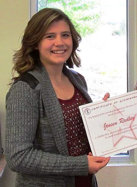Jensen Radley, a Fernley High School graduate, accepts a $1,000 scholarship from Fernley Republican Women.