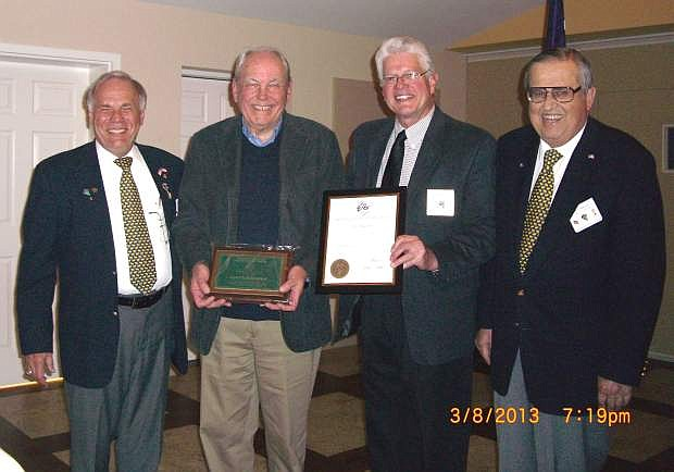 Pictured from left is Jim Plamenig, Lloyd Higuera, state Citizen of the Year Chairman Dan Wells and Lodge Citizen of the Year Russ Wailes.