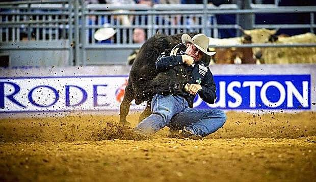 Elko steer wrestler Dakota Eldridge wins the Championship Shootout of RodeoHouston on March 19 with a run of 5.0 seconds. The run pocketed Eldridge $50,000, earning $56,750 in total at the rodeo.