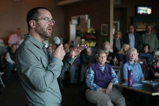 Carson City Supervisor Brad Bonkowski answers a question about Empire Ranch Golf Course on Wednesday.