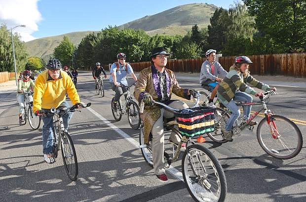 About 50 participants ride the Westside Cruiser Ride Wednesday evening in Carson City. Many cyclists will be on area roads and trail with the Epic Rides event happening beginning Friday.