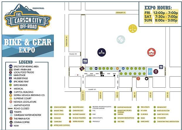 Map of Downtown Carson City which will host the start and finish line, the Gear & Bike Expo and music throughout the weekend.