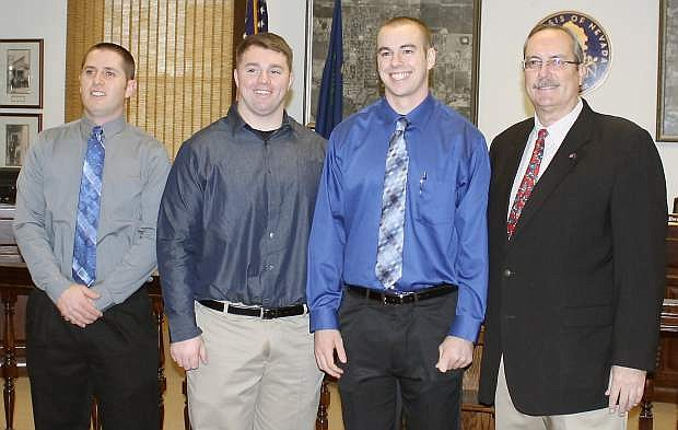 Three new Fallon police offers were recenltuy sworn in and now they are attending the POST (Peace Officers Standards Training) academy.   From left are  Zachary Jacobs, Austin Wood, Joe Shyne and Mayor Ken Tedford.