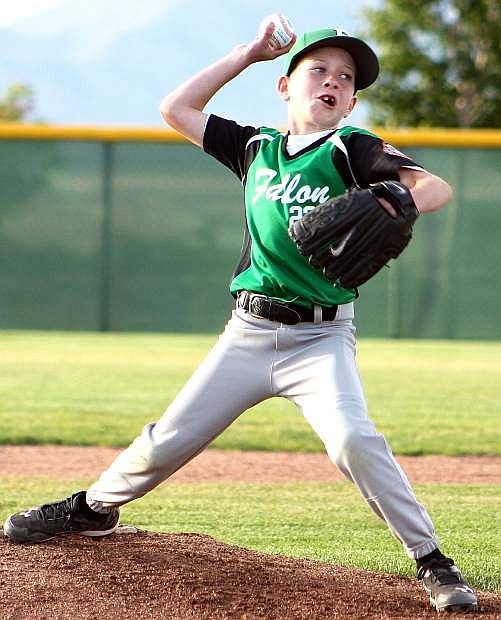 Fallon's Zachary Koenig pitches in the team's opening game against Silver State during the under-8 all-star tournament on Thursday.