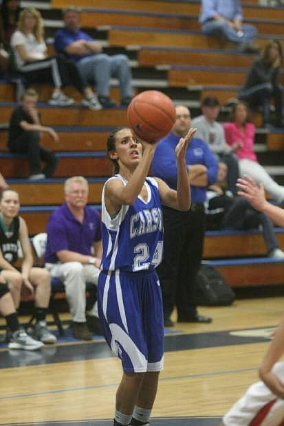 Fallon's Shayna Hicks plays for the girls blue team during Wednesday's all-star game in Carson City.