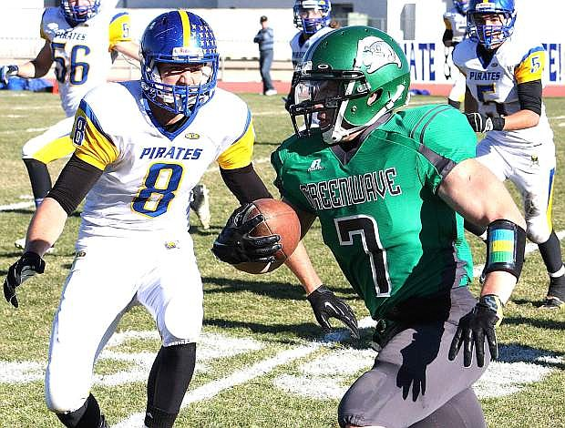Fallon running back Trent Tarner gains yardage during the Wave's 34-24 Division I-A state semifinal win over Moapa Valley last week.