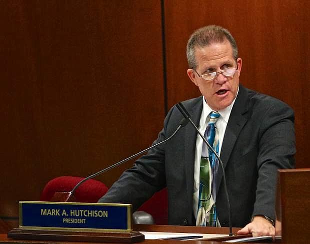 Senate President Lt. Governor Mark Hutchison addresses senators Wednesday evening during the 29th Special Legislative Session regarding the Faraday Future electric car company.