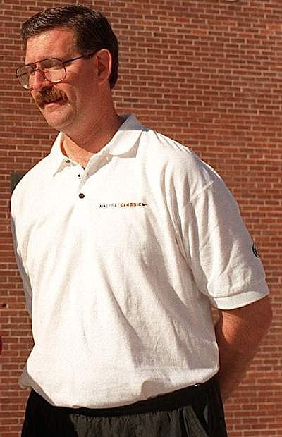 Former Carson High basketball coach Pete Padgett is seen outside of Reno High School in 1997.