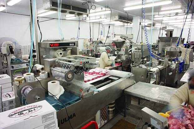 Meat processing at the company's production plant.