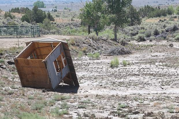 A children's playhouse was washed away during Sunday's flooding in Fish Springs.