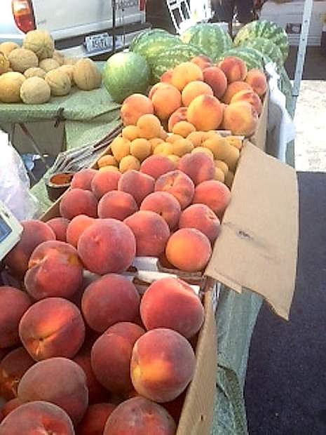 Peaches from Minton Farms are on display at a recent farmer's market.