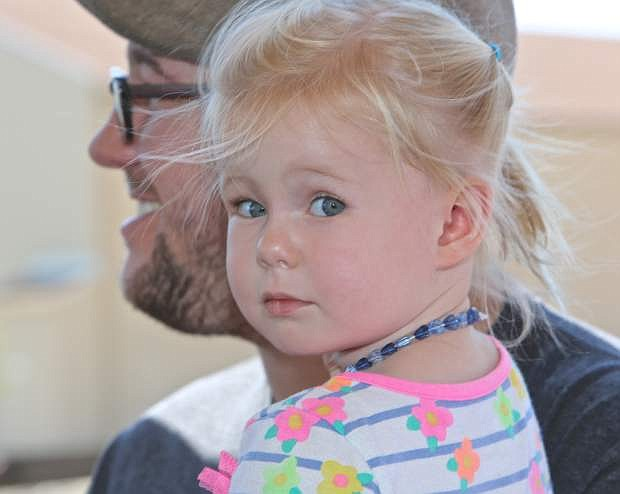 2-year-old Rose Jeppson enjoys her very first train ride Saturday morning in Carson City.