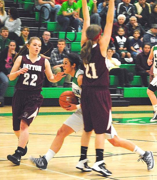 Fallon guard Ali Tedford drives to the basket during the Lady Wave's 55-18 win over Dayton on Friday.
