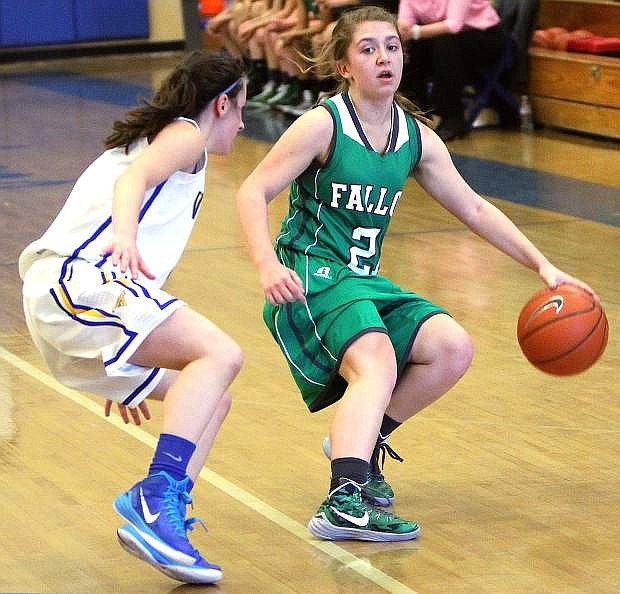 Fallon guard Zoey Swisher brings the ball up the court during the Lady Wave's 49-41 loss to South Tahoe on Saturday.