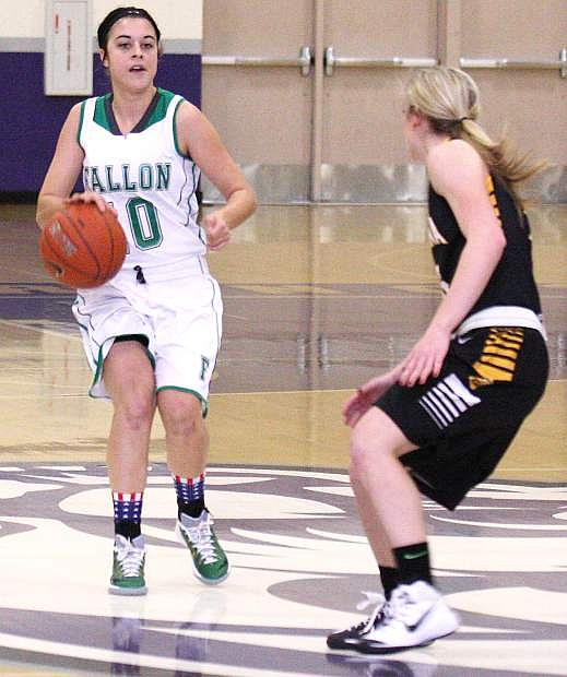 Fallon guard Ali Tedford dribbles up the court during a game against Galena last week. The Lady Wave play at Spring Creek today and Elko on Saturday to tip off the Northern Division I-A schedule.