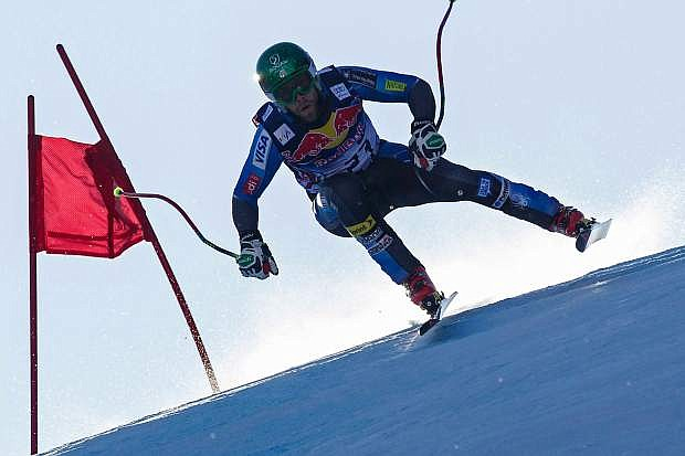 Travis Ganong of Squaw Valley is shown racing the Kitzbuhel downhill last season. Ganong finished sixth in the final World Cup downhill and ninth in the final super G.