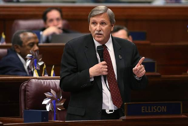 Nevada Assemblyman James Healey, D-Las Vegas, speaks on the Assembly floor. The Assembly voted 27-14 in favor of repealing the language in the state constitution that defines marriage as between a man and a woman, giving voters a chance to allow same-sex marriage.