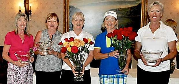 Award winners from the Genoa Lakes Ladies' Golf Club Championship Tournament includ, from left, Lorraine Segala, Juanita Wells, Mary Zimmerman, Ann-Sofie Allen and Kory Miller.