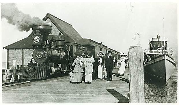 A historic photo of The Glenbrook at Lake Tahoe platform.