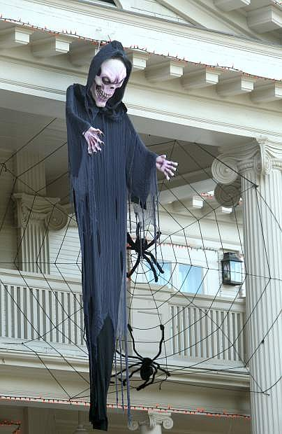 A very scary ghost hangs in front of the Governor's Mansion.