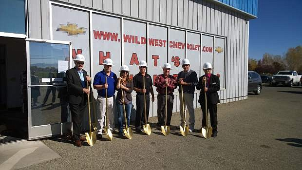 Miles Construction is partnering with Wild West Chevrolet in Yerington to complete a 5,024 square foot addition to the dealership, including additional showroom space, a new service bay and overall updates to the look of the building. The official ground breaking took place Oct. 21. The dealership will remain open throughout renovations, which are expected to be complete in March 2017. From the left are Kevin Fox of Ally Financial; Don Lindberg, CEO of Wild West Chevrolet; Ashlee Lindberg-Carlgren, VP of Operations Wild West Chevrolet; Tony Lindberg, General Manager of Wild West Chevrolet; Tom Grady, Assemblyman; Mayor George Dini; and Lyon County Manager Jeff Page.