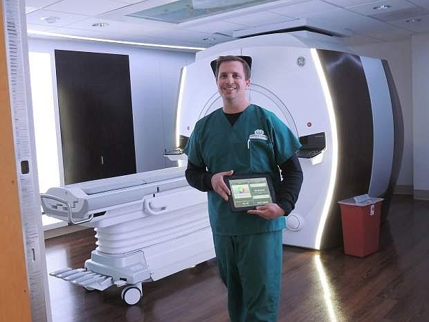 Jason Cerniglia shows off Carson Tahoe Health's caring suite.