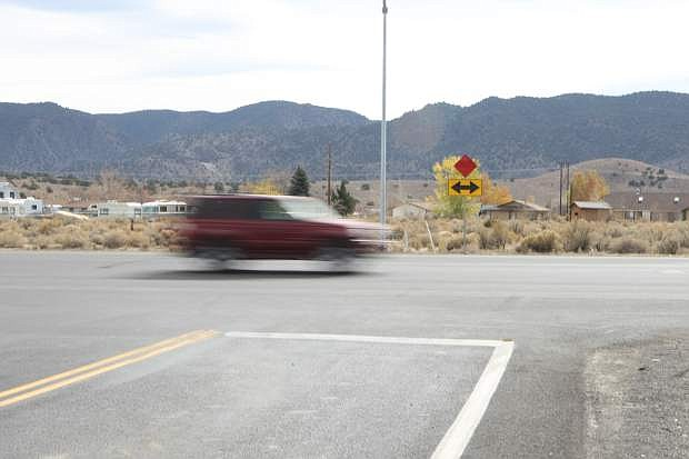 A car travels west on Highway 50 at the turn from Highway 341, the road to Virginia City, last year.