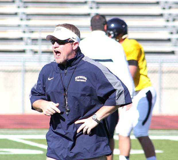 Nevada head coach Brian Polian reacts during practice this week at Macaky Stadium in Reno.