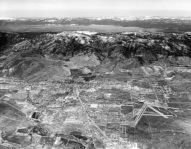 An aerial view of Carson City and Lake Tahoe in 1972.