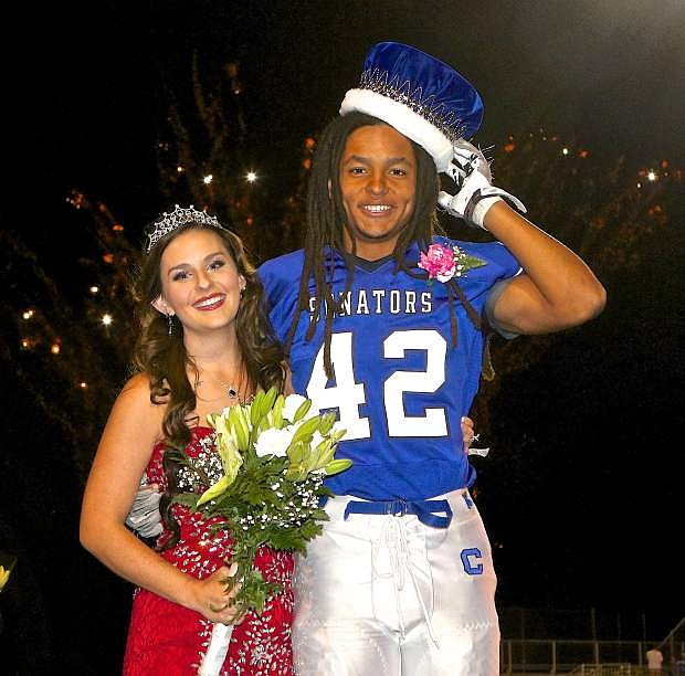 Haley Gray and Ikela Lewis are the 2015 Carson High School fall homecoming queen and king as shown here Friday night at the Jim Frank Track and Field Complex.